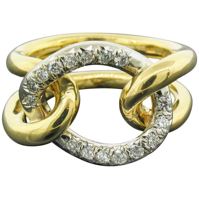 Italian Diamond and 18 Karat Gold Ring For Sale