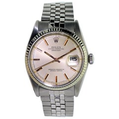 Rolex Rose Gold Stainless Steel Datejust Perpetual Wind Watch circa 1960s