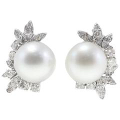 Luise Australian  Pearl Diamond Earrings