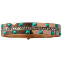 Napoleon III Turquoise Diamond Gold Bangle Bracelet