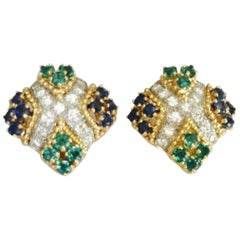 Impressive Diamond Emerald Sapphire Gold Earrings