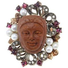 Luise Gold Silver Diamond Pearl Garnet Lava Stone Ring