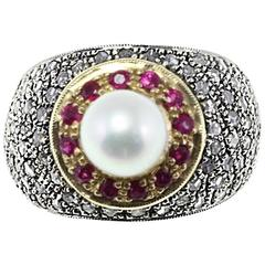 Luise Gold Silver Diamond Ruby Pearl Ring