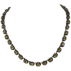Luise Gold Silver Topaz Necklace
