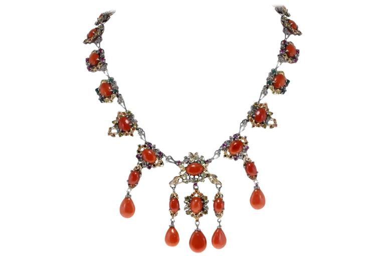 Gold Silver Diamond Sapphire Ruby Emerald Coral Necklace