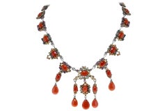 Diamonds,Sapphires,Rubies,Emeralds,Red Corals and Drops,RoseGold/Silver Necklace