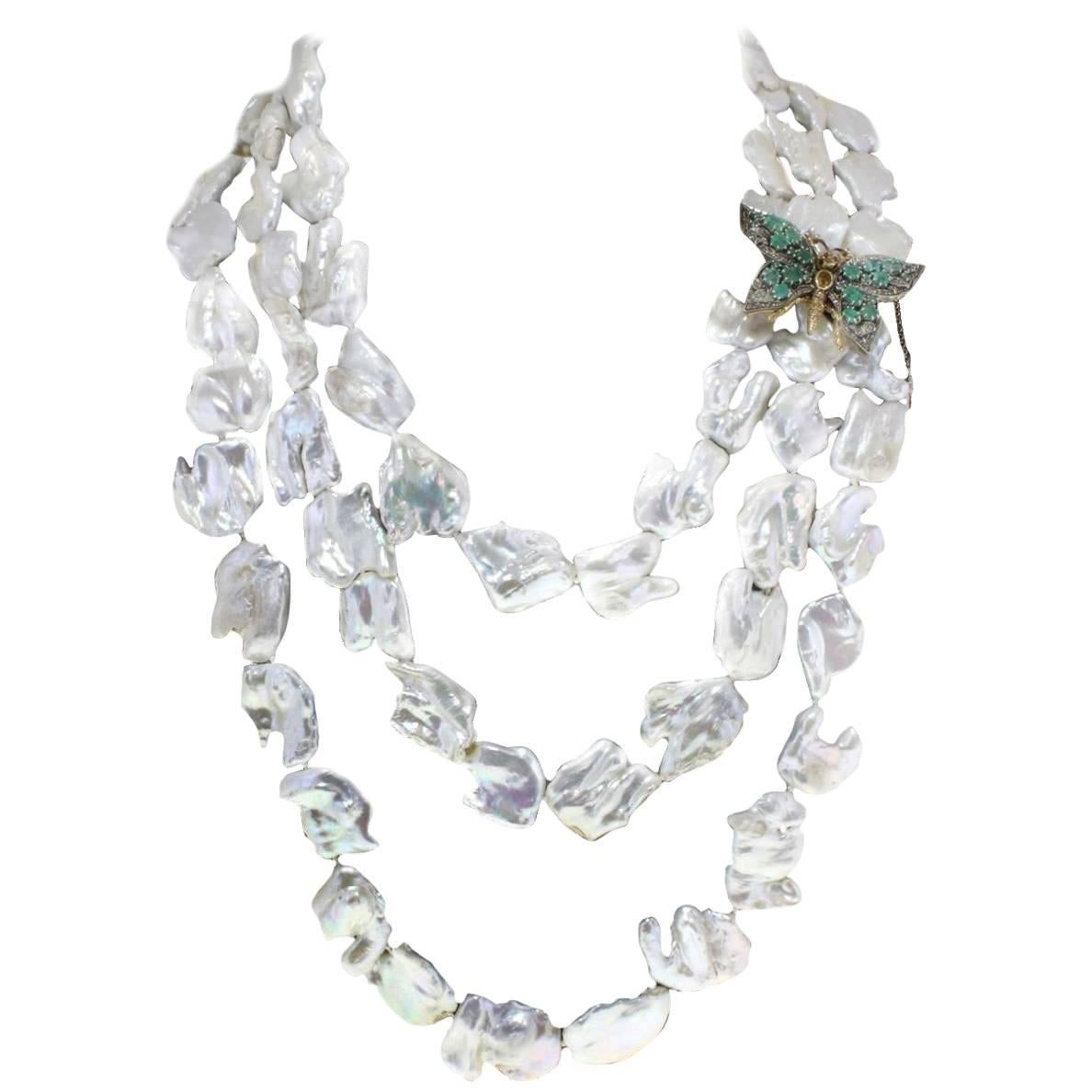 Emerald Topaz Garnet Pearl Silver Gold Necklace