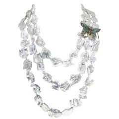 Emerald Topaz Garnet Pearl Silver Gold Necklace