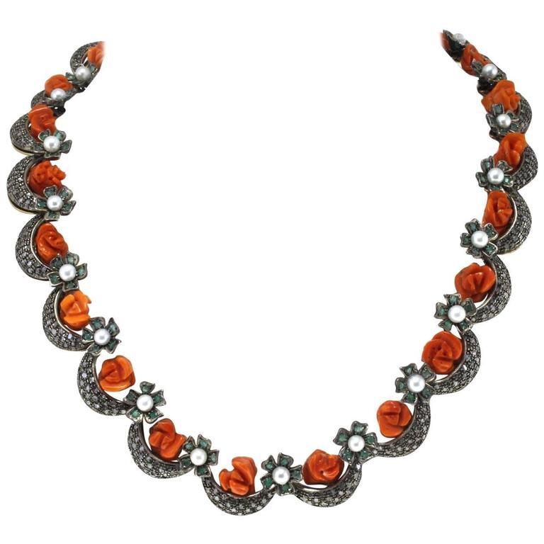 Pearl Coral Emerald Diamond Silver Gold Necklace