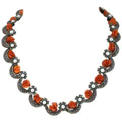 Luise Pearl Coral Emerald Diamond Silver Gold Necklace