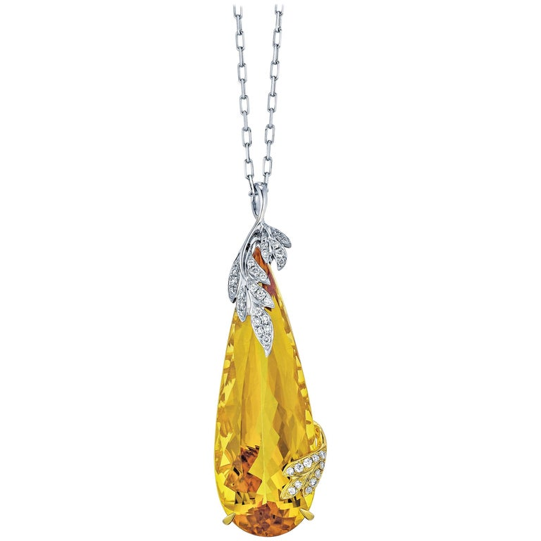 Frederic Sage 20.55 Carat Yellow Beryl Diamond Pendant Necklace For Sale