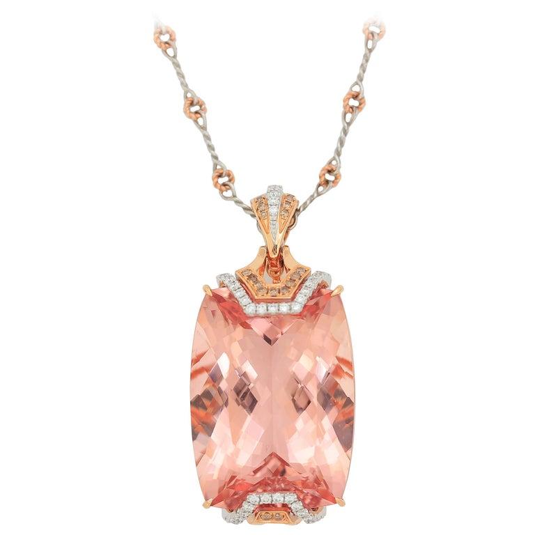 Frederic Sage 67.03 Carat Morganite Diamond Pendant Necklace For Sale