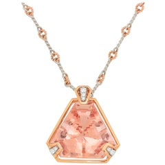 Frederic Sage 32.37 Carat Morganite Diamond Pendant Necklace