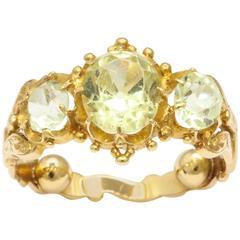 Regency Old Mine Chrysolite Gold Ring