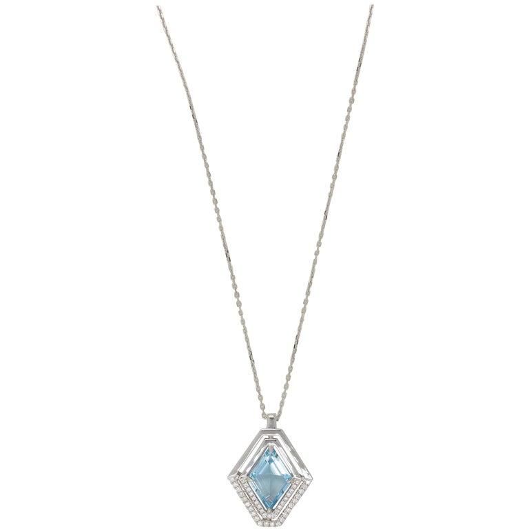 Frederic Sage 1.80 Carat Aquamarine Diamond Pendant Necklace 2