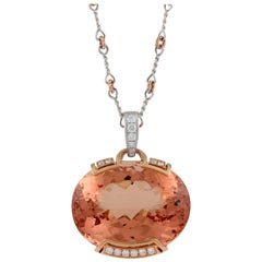 Frederic Sage 55.53 Carat Morganite Diamond Pendant Necklace