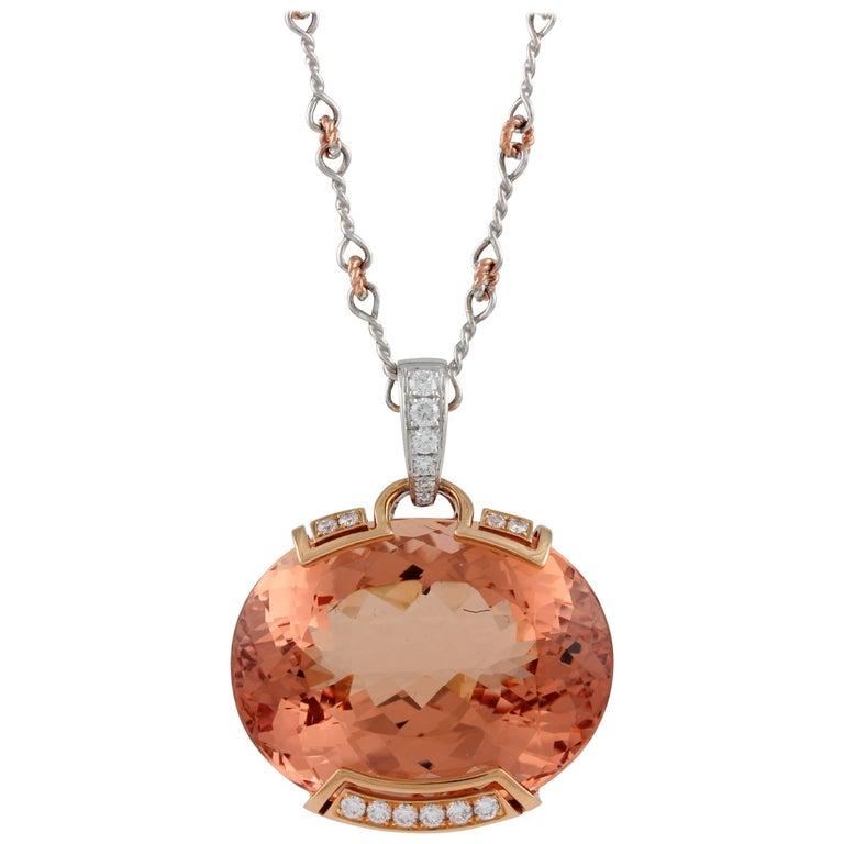 Frederic Sage 55.53 Carat Morganite Diamond Pendant Necklace