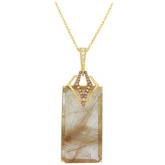 Frederic Sage 39.22 Carat Rutilated Quartz Diamond Pendant Necklace
