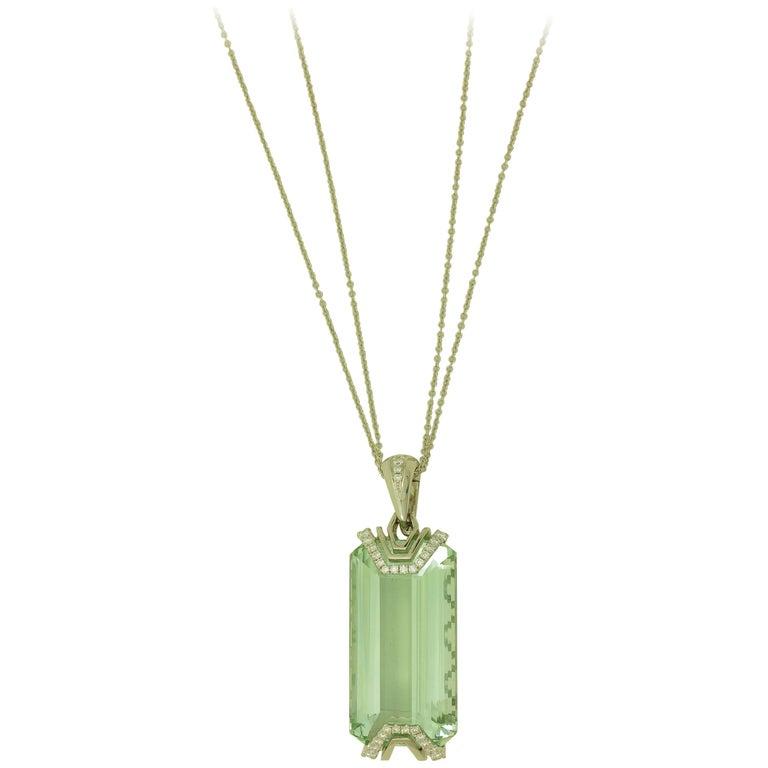 Frederic Sage 41.50 Carat Fine Green Aquamarine Diamond Pendant Necklace