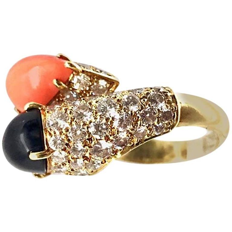 Cartier Diamond Coral and Onyx Gold Crossover Ring