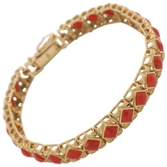 Yellow Gold Mediterranean Red Coral Bracelet