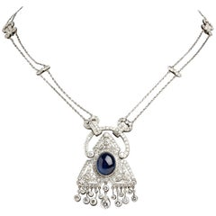 Art Deco Sapphire, Diamond and Platinum Necklace