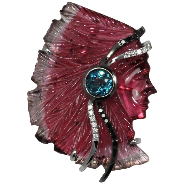 "Frederic Sage 24.35 Carat Bi-Color Tourmaline ""Indian"" Head Brooch/ Pendant"