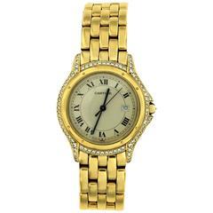 Cartier 18 Karat Gold Diamonds Cougar Wristwatch