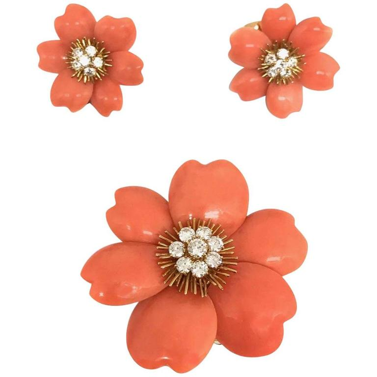 Van Cleef & Arpels Rose De Noel  Coral Brooch Earclips Set For Sale