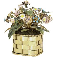Cartier Enamel Gilt Silver Flower Basket