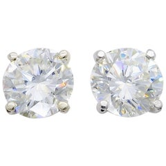 3.64 Carat Round Brilliant Cut Diamond Stud Earrings