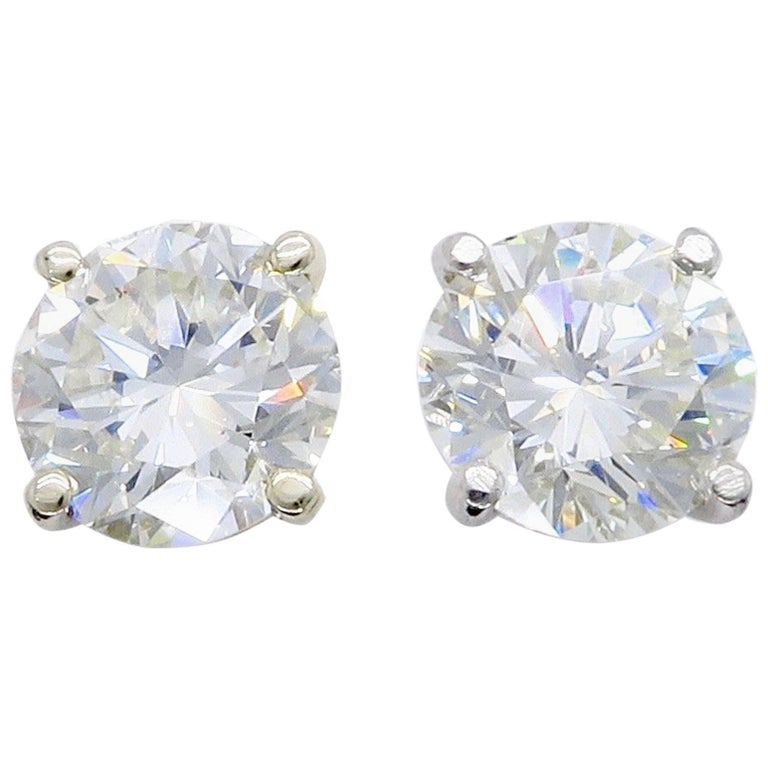3.64 Carat Round Brilliant Cut Diamond Stud Earrings