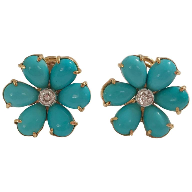 Turquoise Flower Stud Earrings with Diamond Center 1