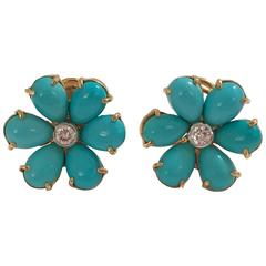 Turquoise Flower Stud Earrings with Diamond Centres
