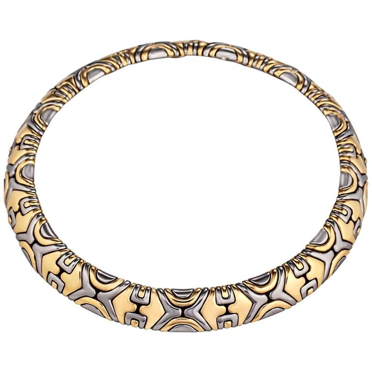 Bulgari Alveare Vintage Gold and Stainless Steel Necklace For Sale