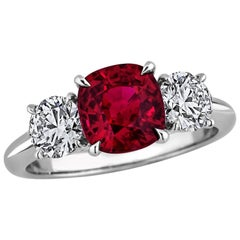 Burmese Ruby Diamond Platinum Three-Stone Engagement Ring