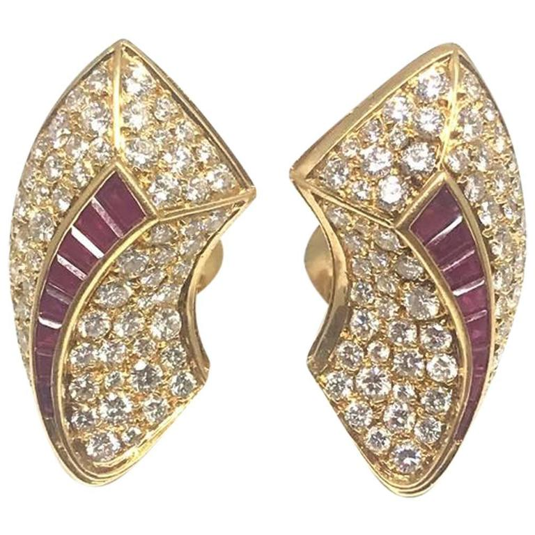 Van Cleef & Arpels Diamond Ruby Gold Earrings