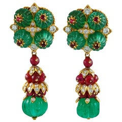 Van Cleef & Arpels Emerald Ruby Earclips
