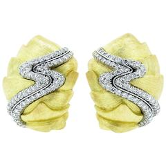 Sculptural Henry Dunay Cynnabar Collection Diamond Earrings