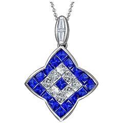 Invisible Set Blue Sapphire Diamond White Gold Pendant Necklace