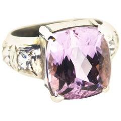 Gemjunky Elegant 9+ Ct Kunzite & Sri Lankan Sapphire Silver Cocktail Ring