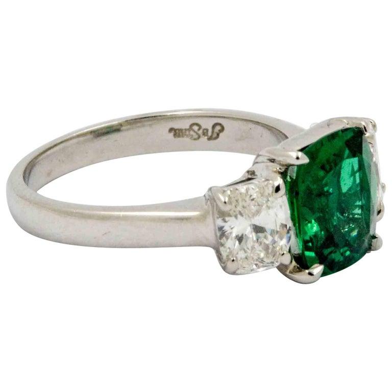 J B Star 1.80 Carat Emerald Diamond Platinum Engagement Ring