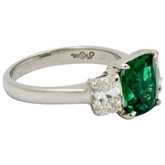 J B Star 1.80 Carat Emerald Diamond Platinum Engagement Ring