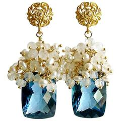 London Blue Topaz Seed Pearls Moonstone Cluster Earrings