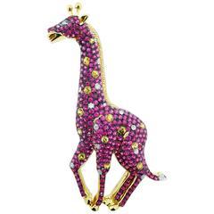 Vibrant Pink and Yellow Sapphire with Diamond Giraffe Brooch