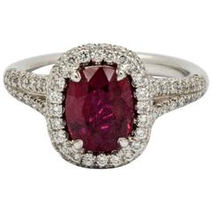 J B Star 2.10 Carat Cushion Cut Ruby Diamond Platinum Engagment Ring