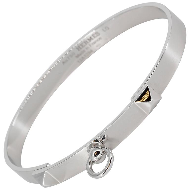 Hermes Collier de Chien White Gold Bangle Bracelet