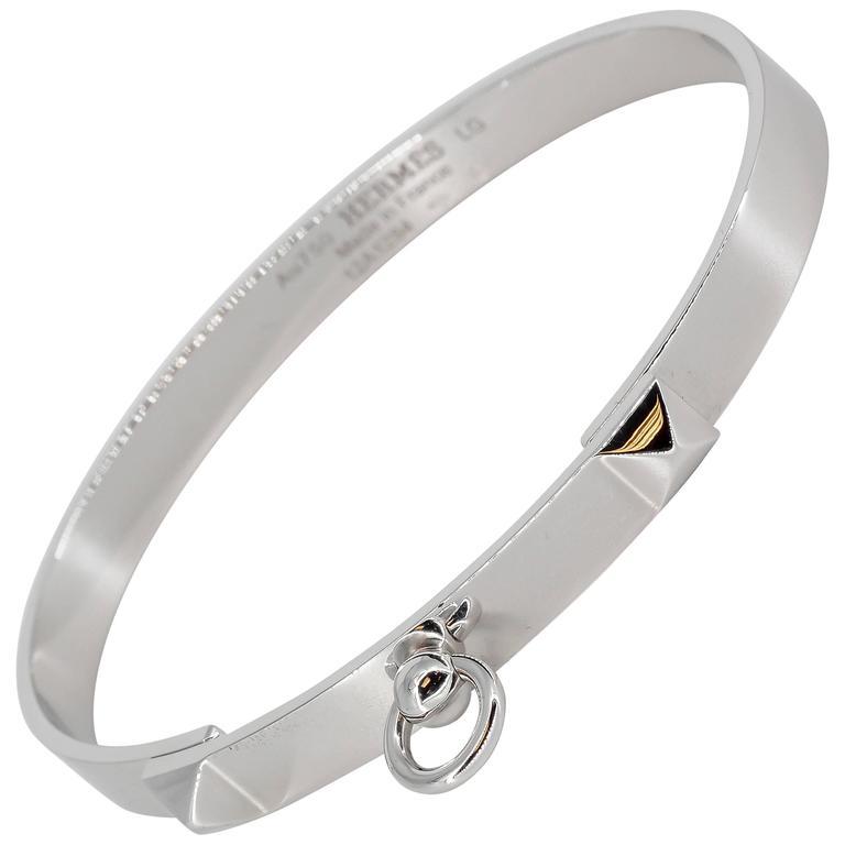 Hermes Collier de Chien White Gold Bangle Bracelet For Sale