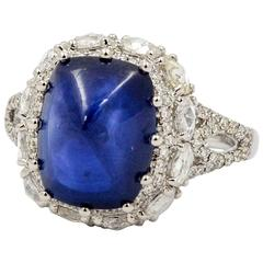 6.44 Carat Cushion Sugar Loaf Cut Blue Sapphire Diamond Ring