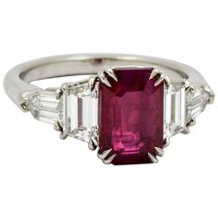 3.01 Emerald Cut Burmese Ruby Diamond Platinum Engagement Ring